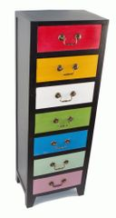 Unique Multi Coloured Retro Tall Slim Cabinet with 7 Drawers