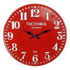 Red Metal Wall Clock 40cm