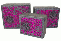 Luxury Designer Fuscia Luxury Storage Boxes Set of 3