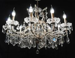 Silver 12 Branch Shallow Cut Glass Chandelier