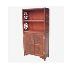 Chinese Elm Bookcase with Carving and Fretwork Long Life Pattern