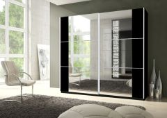 MAPLE Large Sliding Mirrored Wardrobe Black