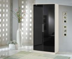 MULBERRY Black Gloss & White 2 Door Wardrobe