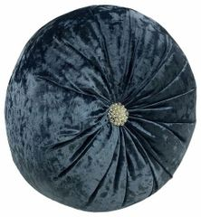 Round Blue Cushion with Diamond Design 36cm