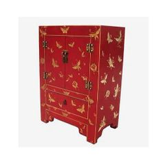 Dark Red Lacquered Cabinet with Double Doors and Drawer