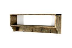 Wooden Wall Shelf with 4 Hooks 54 x 10 x 18 cm