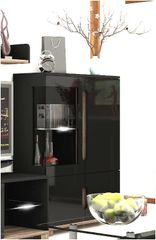 BLOSSOM Black Gloss and Glass Low Display Cabinet