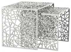 KOKOON Biko Nest of 2 Side Tables Polished Aluminium