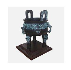 Bronze Tripod Pot Ding A ceremonial ornament pot inc wooden stand 30 x 20cm