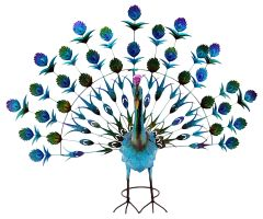 Metal Painted Peacock Garden Ornament Blue / Green 27""