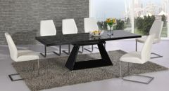 Italia Extending Black Table with 6 Mariya Chairs White