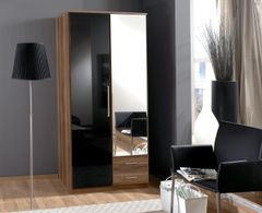 MULBERRY Black Gloss and Walnut 2 Door 2 Drawer Wardrobe