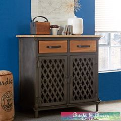 EVOKE Iron / Wooden Jali Small Sideboard 2 Drawer 2 Door