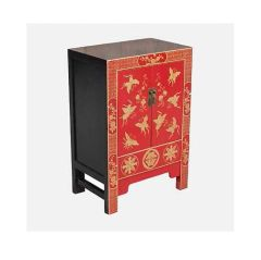Stunning Red and Black Lacquered Cabinet with Double Doors