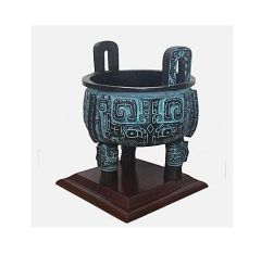 Bronze Tripod Pot Ding A ceremonial ornament pot inc wooden stand 25 x19.5cm