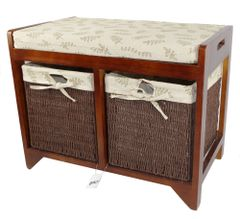 Wooden Storage Bench Cushion Seat 2 Seagrass Baskets drawers