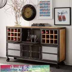EVOKE Iron / Wooden Jali Large Bar / Wine Cabinet Sideboard