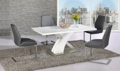 Mayfair XO Table with 4 Mariya Chairs Grey
