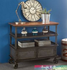 EVOKE Iron / Wooden Jali Console Table