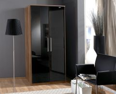 MULBERRY Black Gloss and Walnut 2 Door Wardrobe
