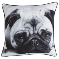 Large Cute Pug Cushion Black & White 43cm x 43cm