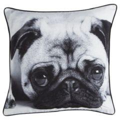 Large Cute Pug Cushion Black & White 43cm x 43cm