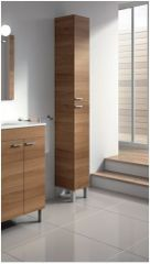 MULBERRY Tall Narrow Bathroom Cupboard Walnut
