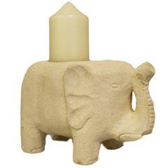 Sandstone Elephant Candle Holder
