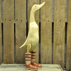 Ornamental Wooden Duck in Brown Wellies
