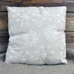 Ivory Heart Shaped Embroided Cushion 40 x 40 cm