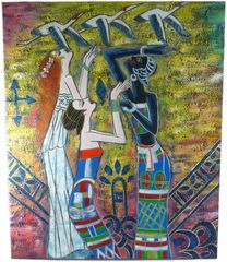 African Girls - 50cm x 60cm Real Art Painting, Oil on Canvas