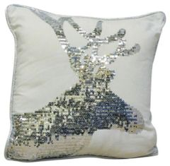 Silver Stags Head Cushion 45cm