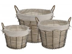 Set of 3 Lined Round Baskets