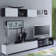 LILY Grey Oak and White Gloss TV Complete Wall Cabinet