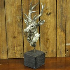 Antique Silver Deer on Stand