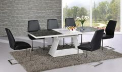Italia Extending Black / White Table with 6 Mariya Chairs Black