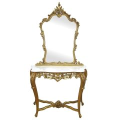 FRENCH Gold Carved Console & Mirror with White Marble Top Vanity Dressing Table