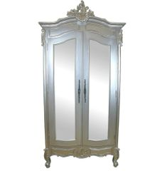 FRENCH Silver Hand Carved Full Mirror Double Armoire Wardrobe