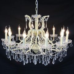 Antiqued Cream 12 Branch Shallow Cut Glass Chandelier