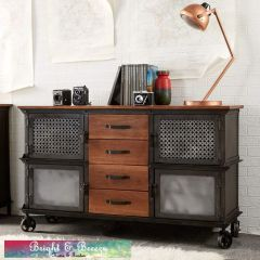 EVOKE Iron / Wooden Jali Large 4 Drawer Sideboard