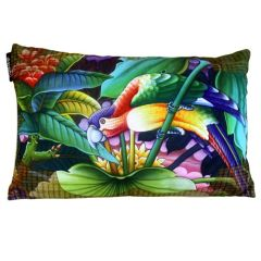Exotic Flora Parrot Facing Right Cushion