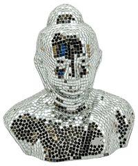 Silver Mosaic Buddha Head 60cm