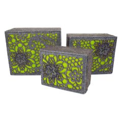 Luxury Designer Lime Luxury Storage Boxes Set of 3