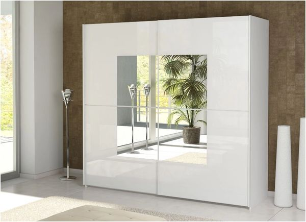 ALDER 2 Door Mirror Sliding Wardrobe 220cm White