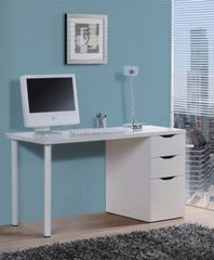 FERN White Gloss Desk With 3 Drawers