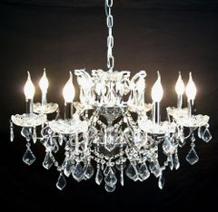 Chrome 8 Branch Shallow Cut Glass Chandelier