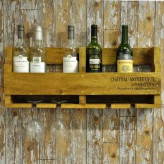 Teak Wooden Wine Rack to Hold 6 Bottles