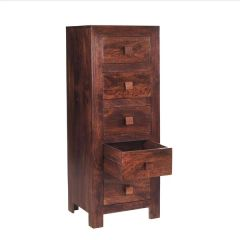 Indian Hub TOKO Mango Tall Boy Chest Of 5 Drawers
