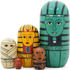 Egyptian Russian Nesting Dolls (Set of 5) Handmade