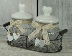 Metal Basket With 2 Glass Jars & Heart Lid